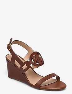 Amilea Burnished Leather Wedge - kilehæl - deep saddle tan