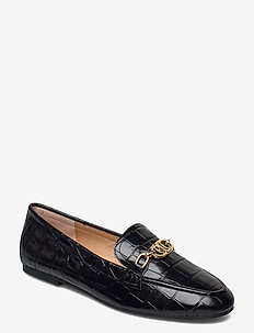 Averi Embossed Leather Loafer - mocassins - black