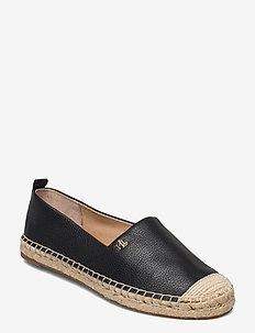 Cameryn Tumbled Leather Espadrille - espadrilles plats - black
