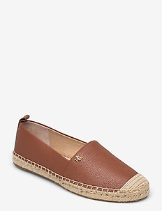 Cameryn Tumbled Leather Espadrille - platta espadriller - deep saddle tan