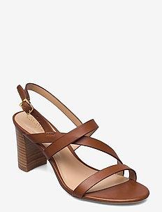 Mackensie Burnished Leather Sandal - högklackade sandaler - deep saddle tan