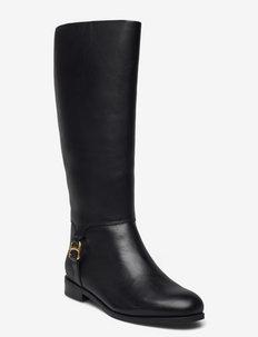 Brystol Burnished Leather Riding Boot - höga stövlar - black