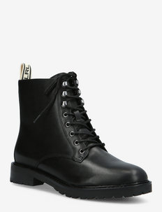 Ensley Burnished Leather Bootie - flache stiefeletten - black/logo