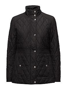 Quilted Mockneck Jacket - BLACK