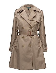 Faux-Leather Trim Trench Coat - SAND