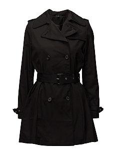 Cotton-Blend Trench Coat - BLACK