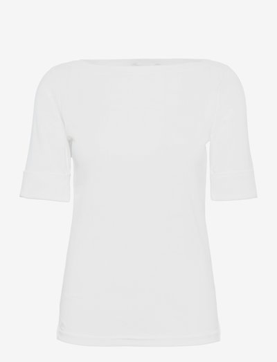 Cotton Boatneck Top - t-shirts - white