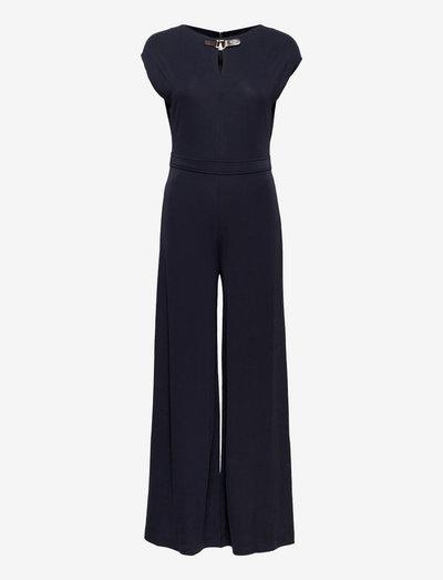 Buckle-Trim Jersey Jumpsuit - clothing - lauren navy