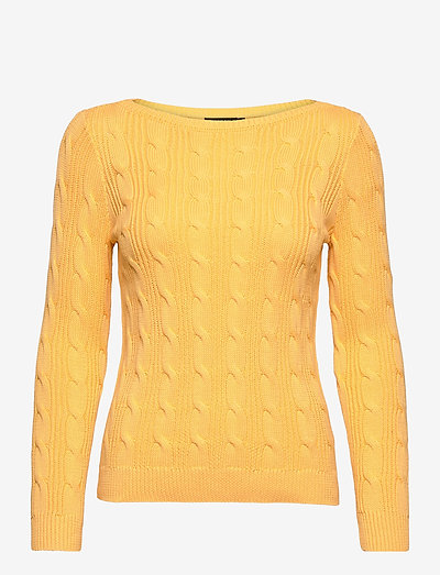 Cable-Knit Cotton Boatneck Sweater - trøjer - beach yellow