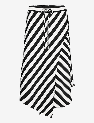 Striped Asymmetrical Satin Skirt - midi-röcke - silk white/black