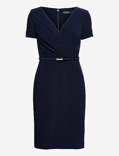 Surplice Matte Jersey Dress - cocktail-kjoler - lighthouse navy