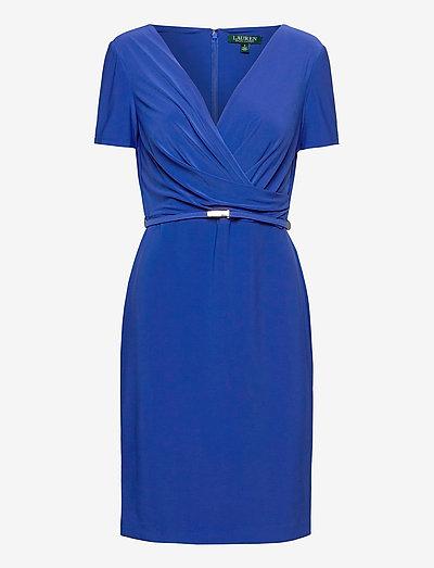 Surplice Matte Jersey Dress - cocktailkjoler - summer sapphire