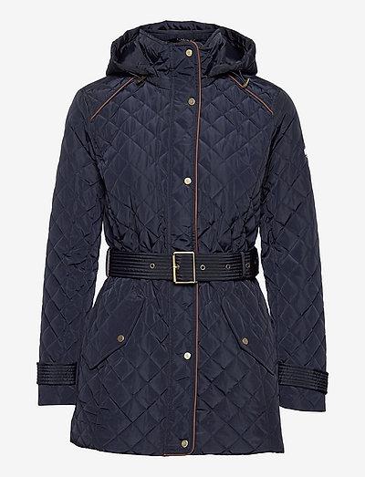 Belted Quilted Jacket - quiltede jakker - dk navy