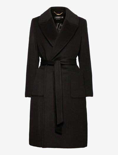 Wool-Blend Wrap Coat - trenchcoats - black
