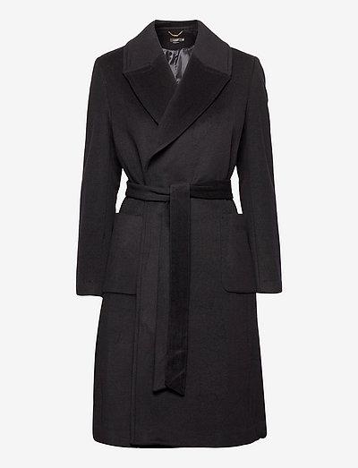 Wool-Blend Wrap Coat - trenchcoats - regal navy