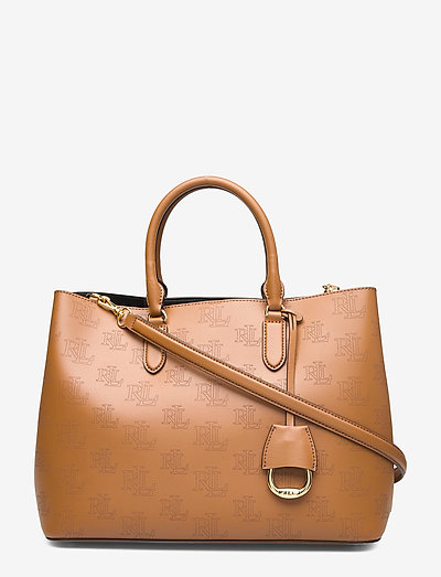 Lauren Ralph Large Leather Marcy Satchel- Top Handle Field Brown/black