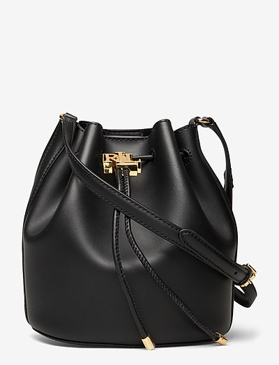 Leather Medium Andie Drawstring Bag - bucketväskor - black