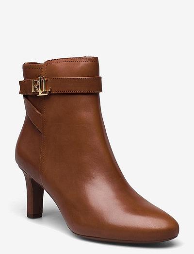 Arianne Leather Bootie - ankelstøvler med hæl - deep saddle tan