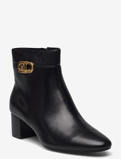 Wynne Burnished Leather Bootie - augstpapēžu puszābaki - black