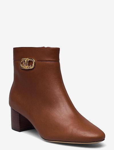Wynne Burnished Leather Bootie - augstpapēžu puszābaki - deep saddle tan