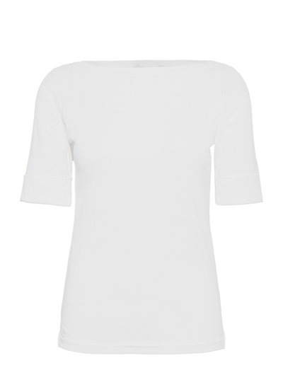 Cotton Boatneck T-Shirt - WHITE