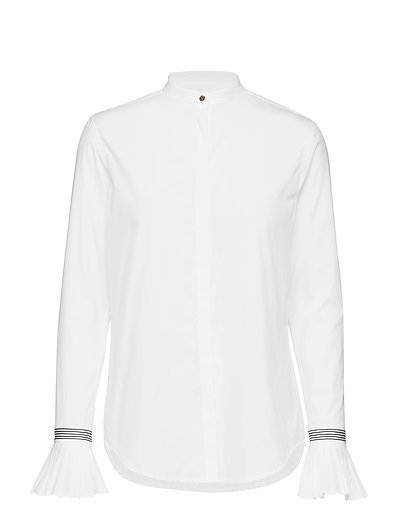 Pleated-Cuff Cotton Shirt - WHITE
