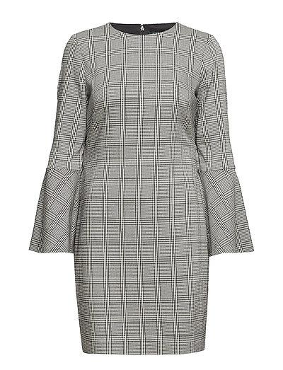 Glen Plaid Bell-Sleeve Dress - BLK/WHITE