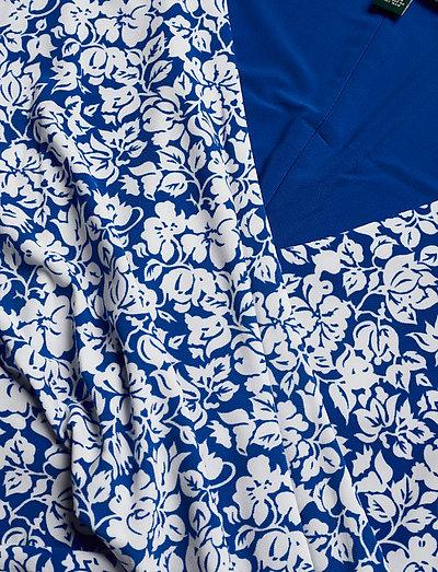 Lauren Ralph Print Surplice Jersey Dress- Sukienki Regal Sapphire/co