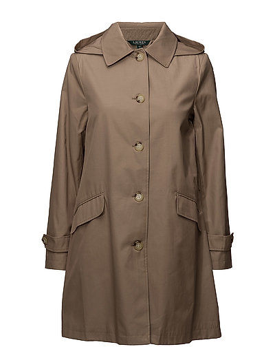 COTTON NYLON-SB A-LINE TRENCH - SAND