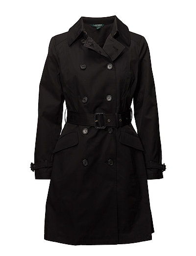 COTTON NYLON-DB TRENCH - BLACK