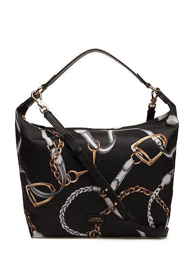 Equestrian Nylon Hobo Bag - BLACK SIG BELTING
