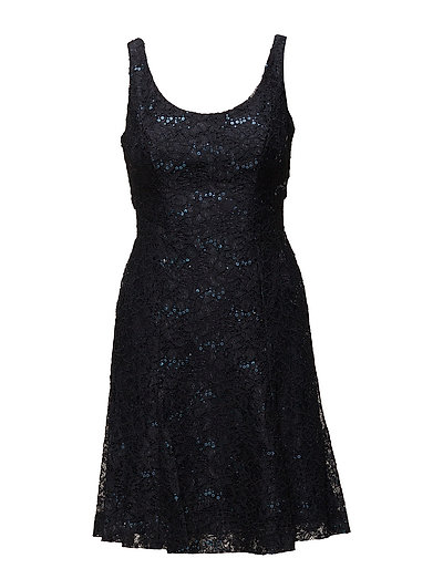 SEQUINED FLORAL LACE DRESS - NAVY SHINE