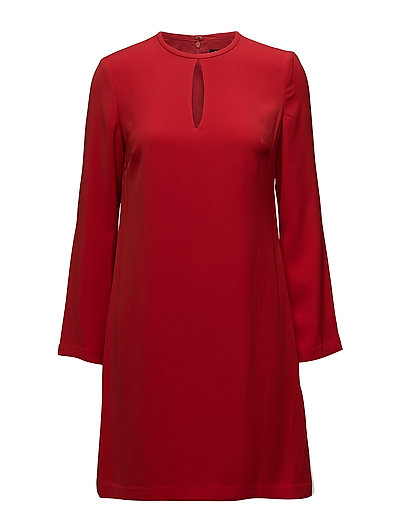CREPE A-LINE DRESS - ORIENT RED