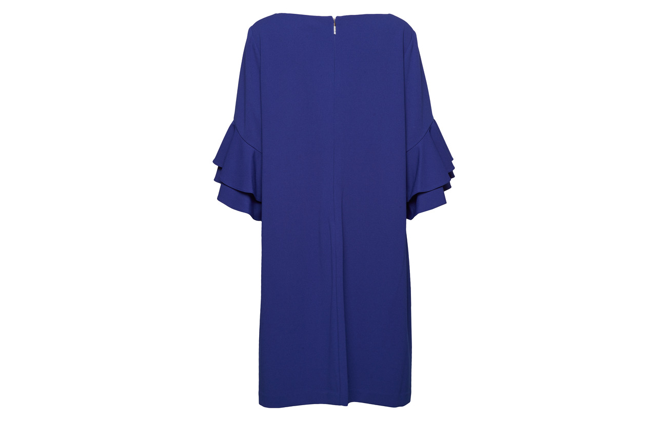 size 94 Blue Lauren sleeve 6 Dress Women Parisian Polyester Elastane Crepe Bell Plus Ewfqwz