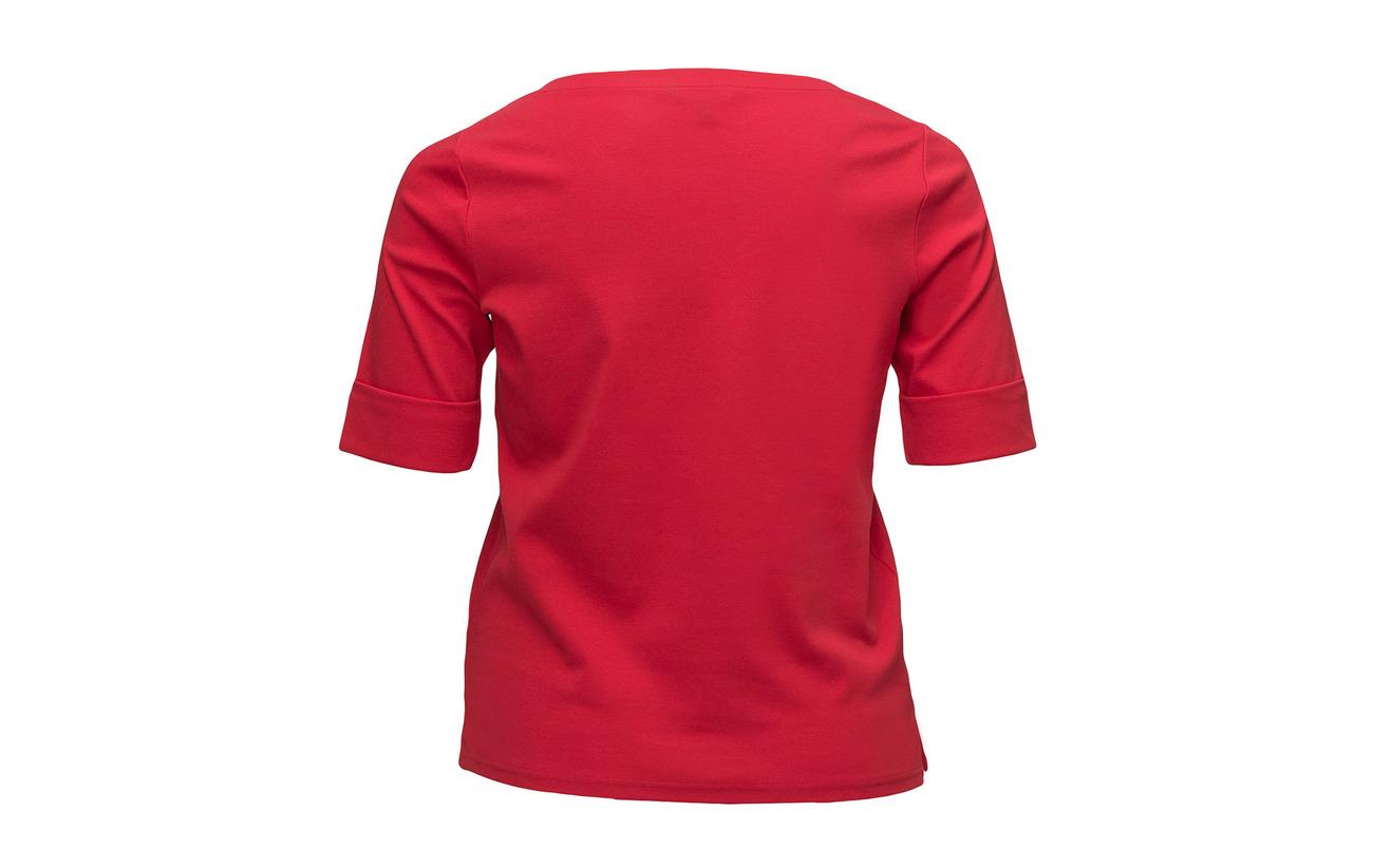 94 Women Tomato Cotton 6 Boatneck Lauren Coton Tee Stretch Elastane Red 0qd06H