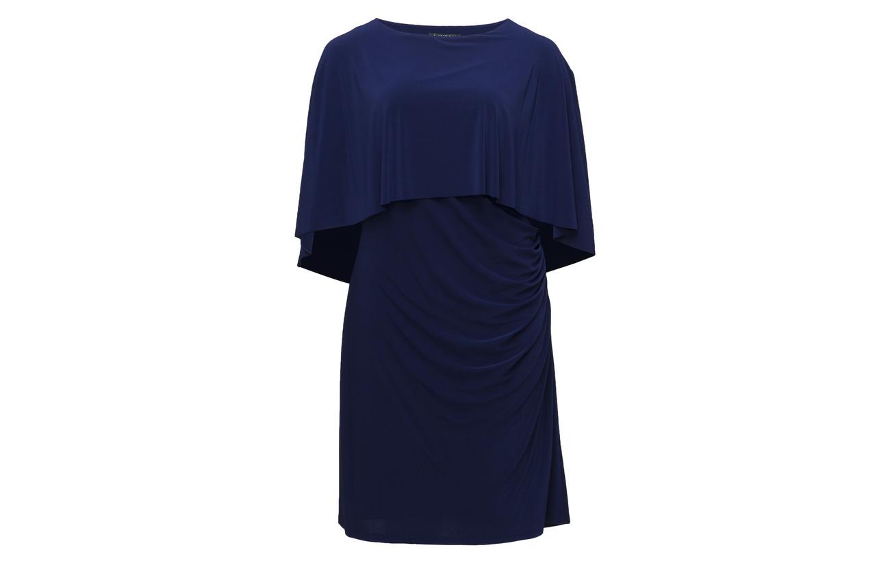 95 Lauren Rch Sapphire Jersey 5 Women Cape Elastane Dress Stretch Polyester Z0pHw7rq0