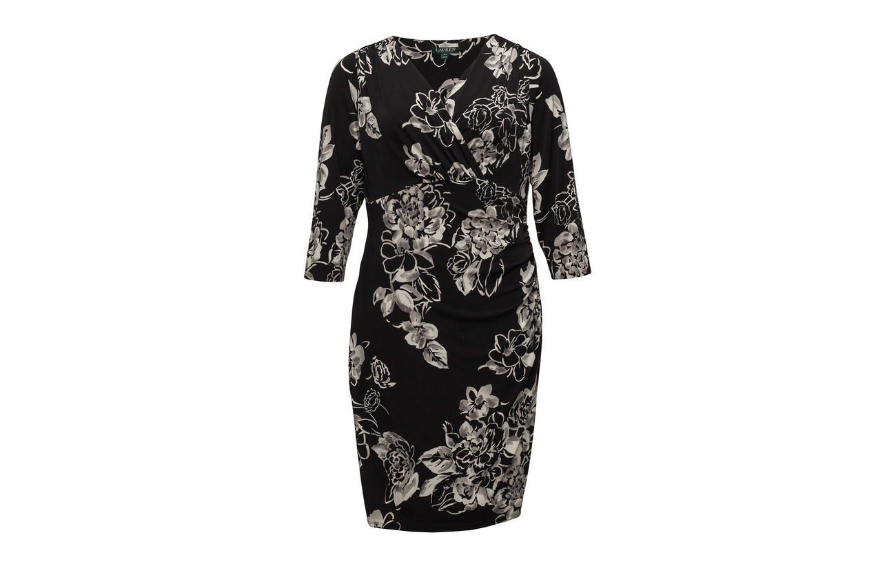 Surplice Floral 94 grey Jersey 6 Coton Women Lauren Dress Elastane Black multi tSqO5