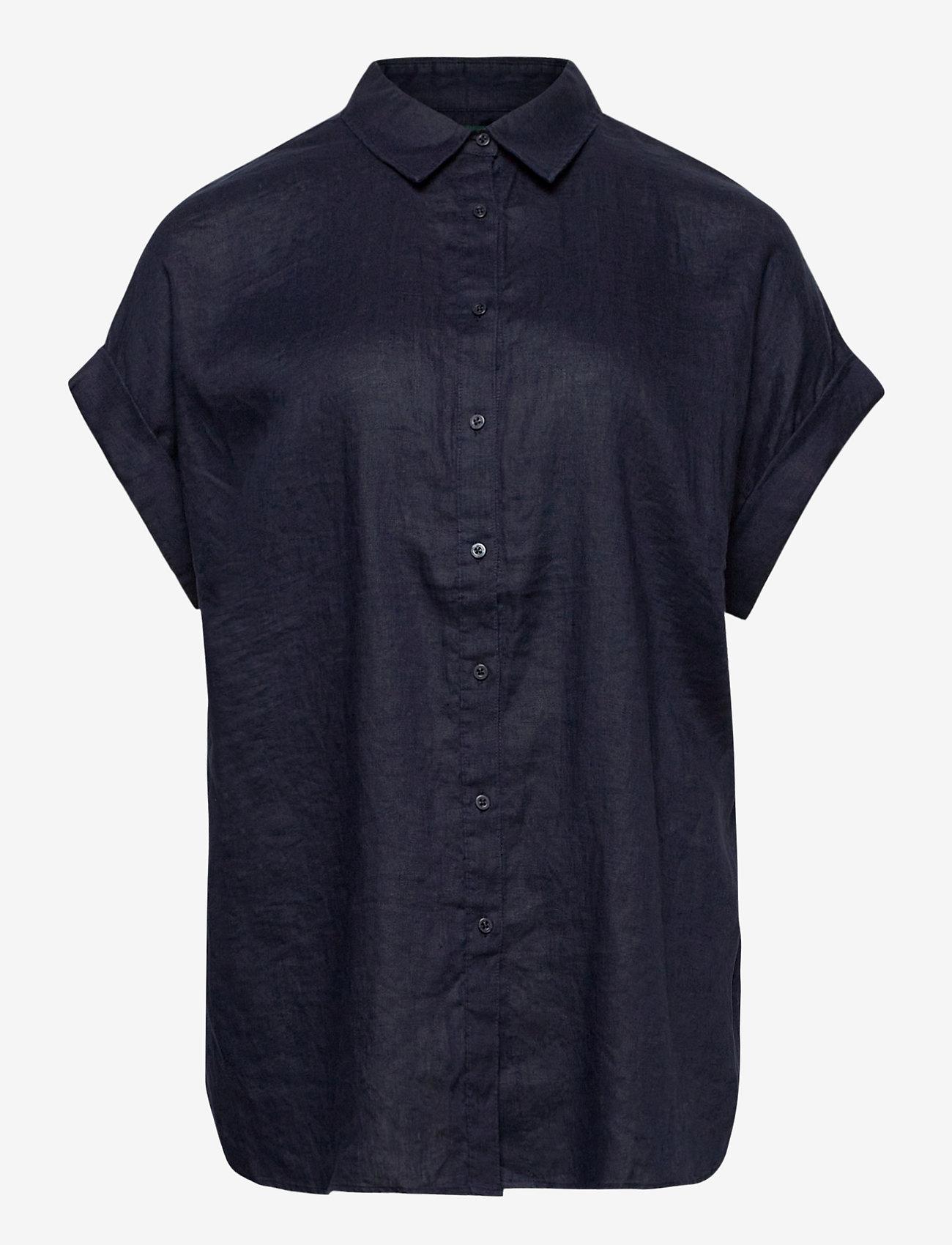 Lauren Women - Linen Short-Sleeve Shirt - kortærmede skjorter - lauren navy - 0