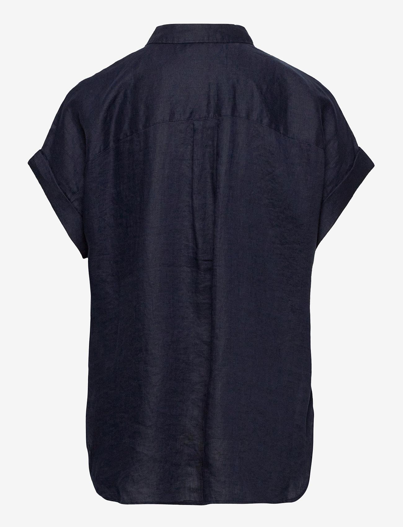 Lauren Women - Linen Short-Sleeve Shirt - kortærmede skjorter - lauren navy - 1