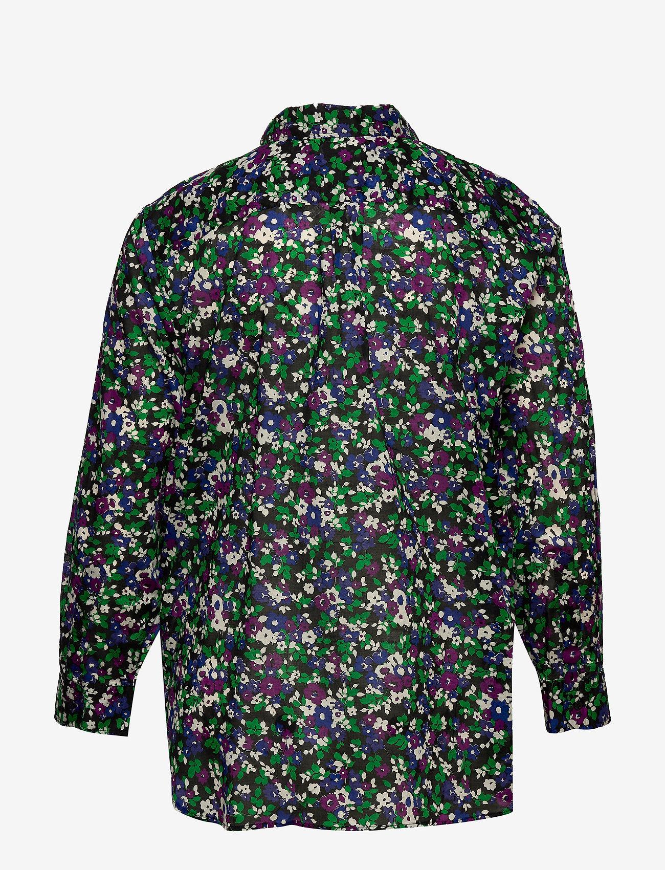 Lauren Women - Floral-Print Cotton Shirt - langærmede skjorter - polo black multi - 1