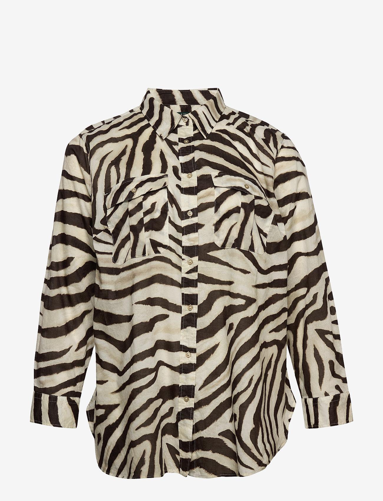 Lauren Women - Print Cotton Shirt - langærmede skjorter - dk brown multi - 0