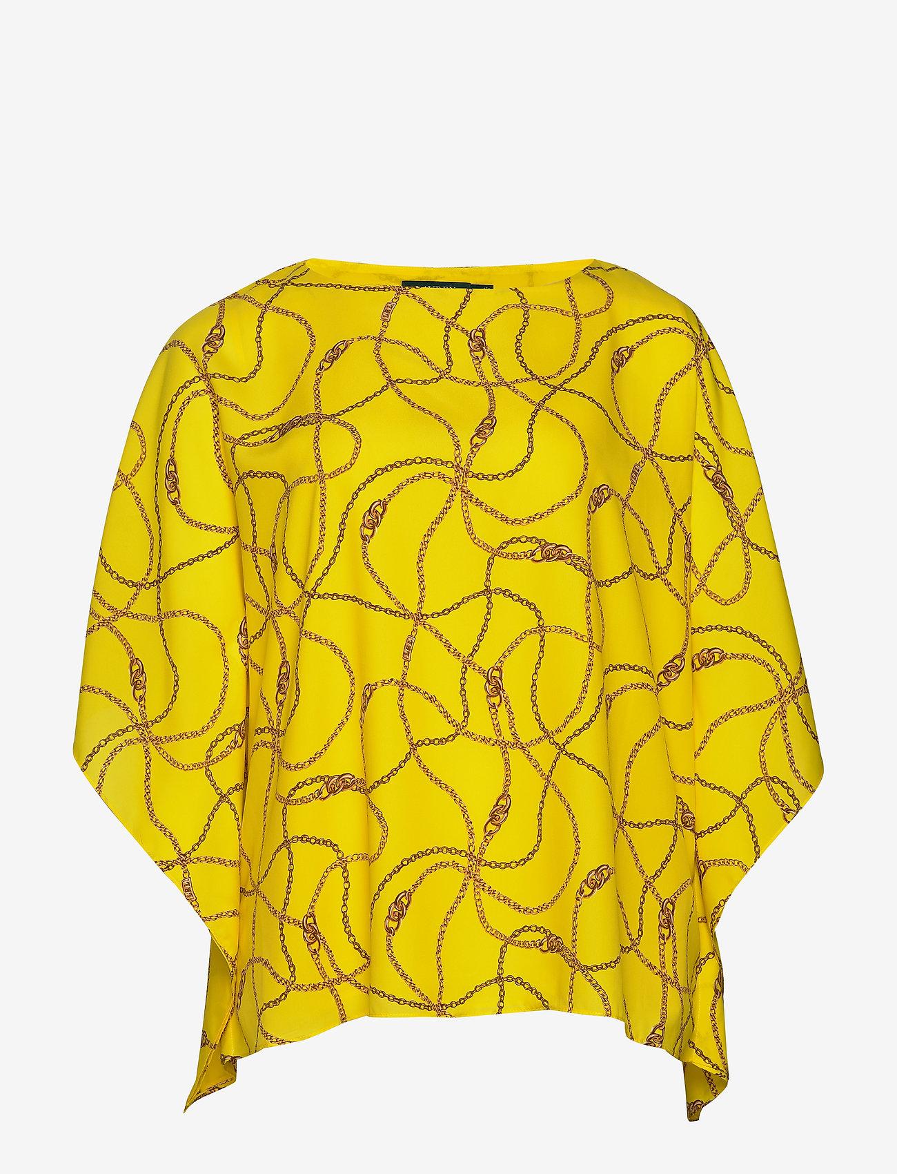 Lauren Women - Print Cape-Sleeve Top - langærmede bluser - dandelion fields - 0
