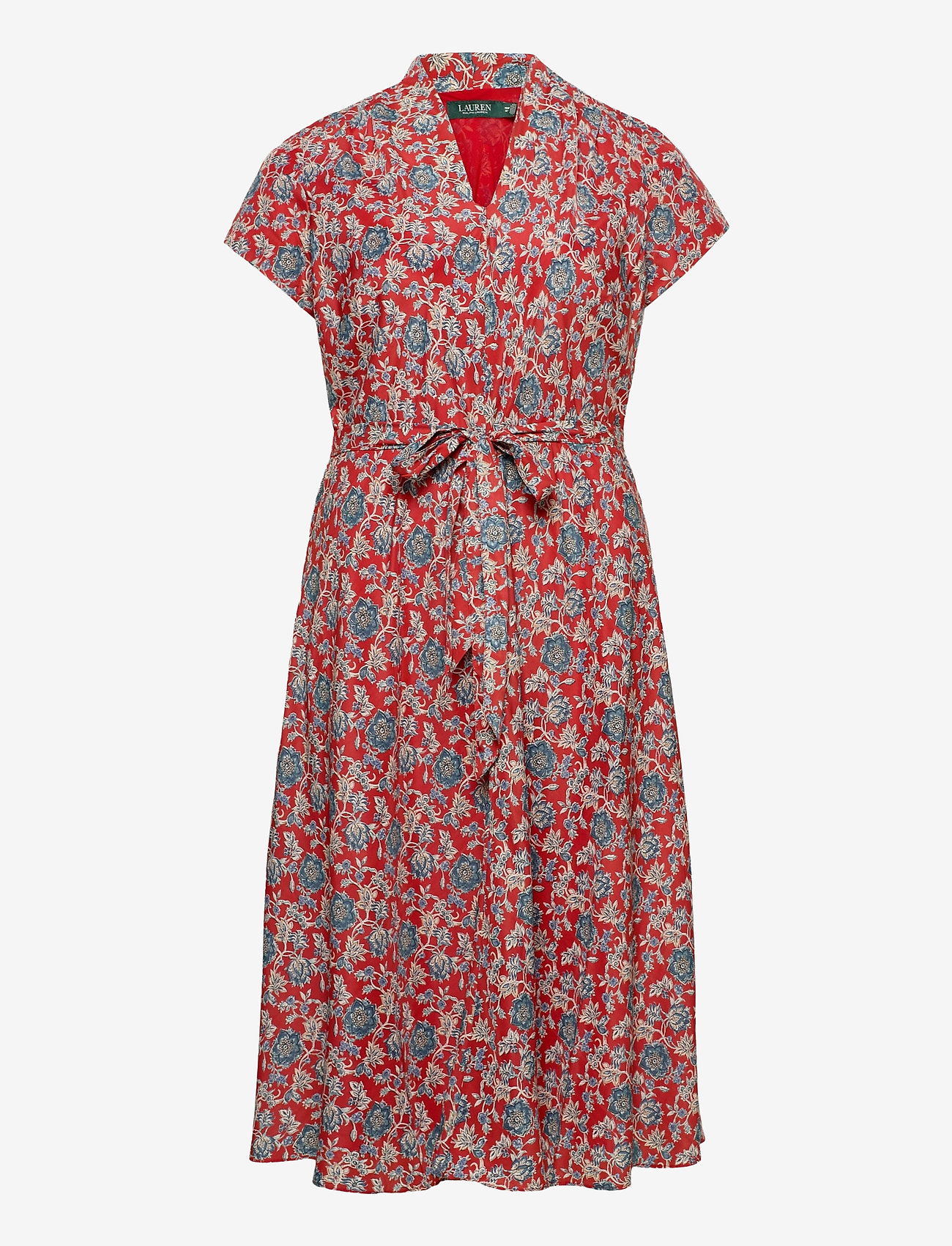 Lauren Women - Floral Crepe Midi Dress - midi kjoler - red multi - 0
