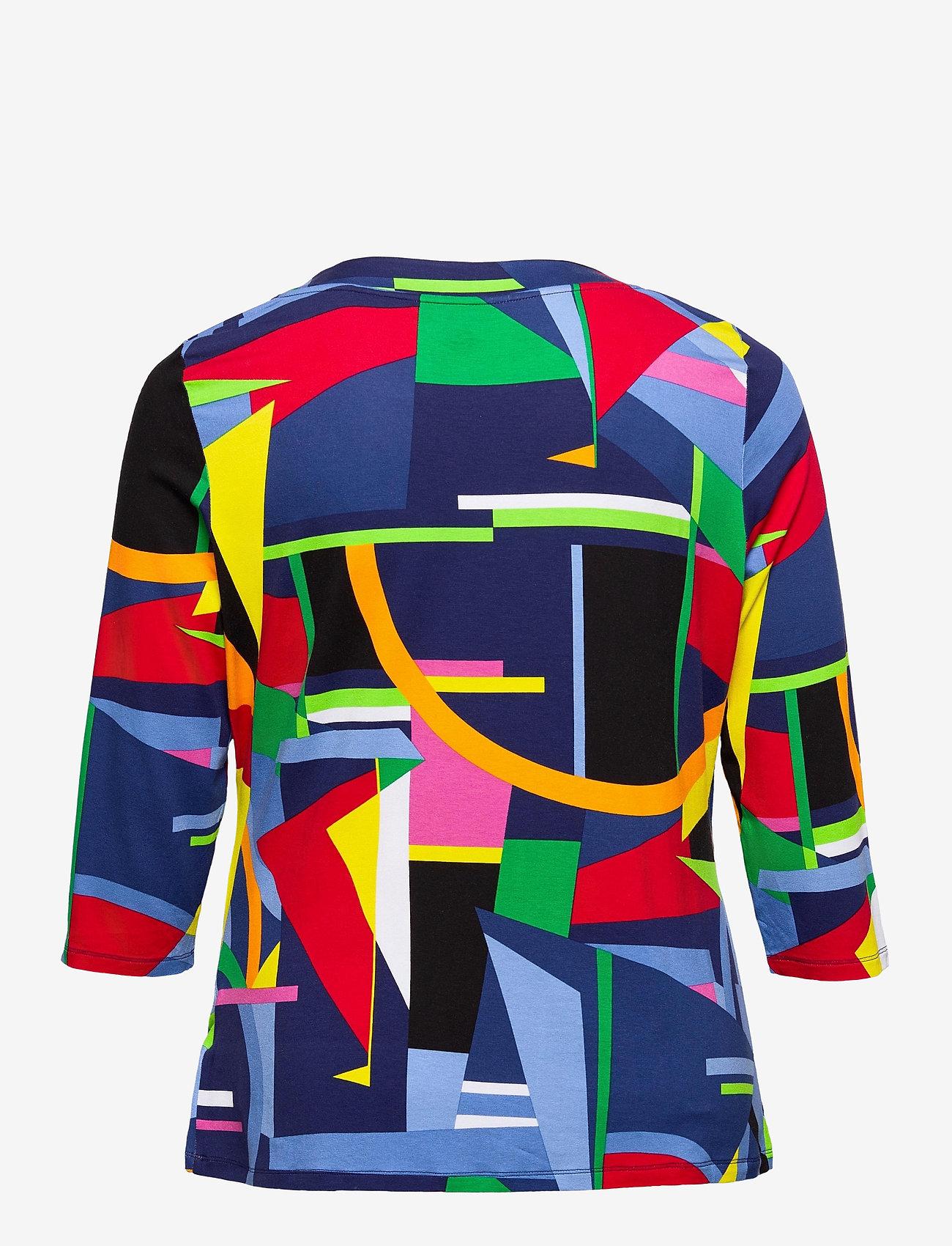 Lauren Women - Print Wrap-Style Jersey Top - langærmede bluser - blue multi - 1