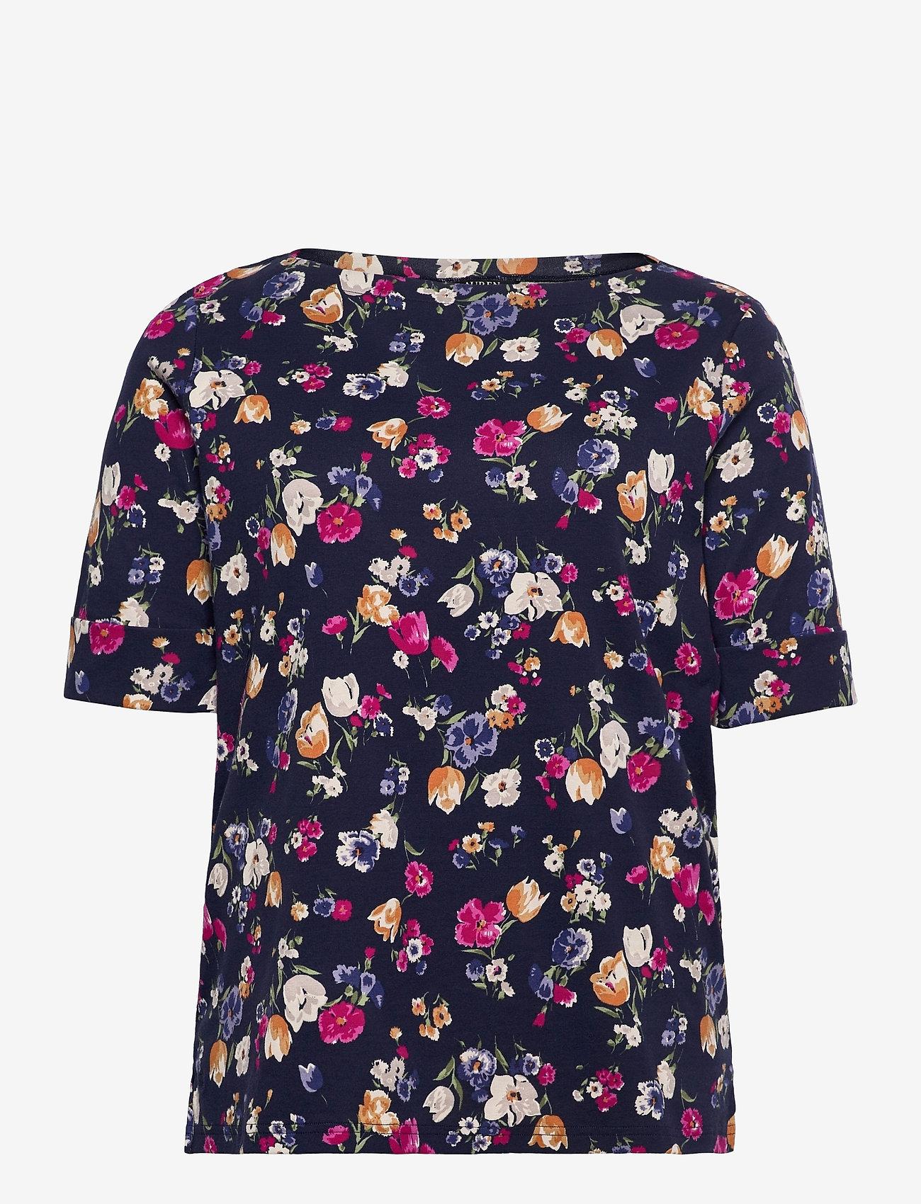 Lauren Women - Floral Cotton-Blend Boatneck Top - kortærmede bluser - french navy multi - 0