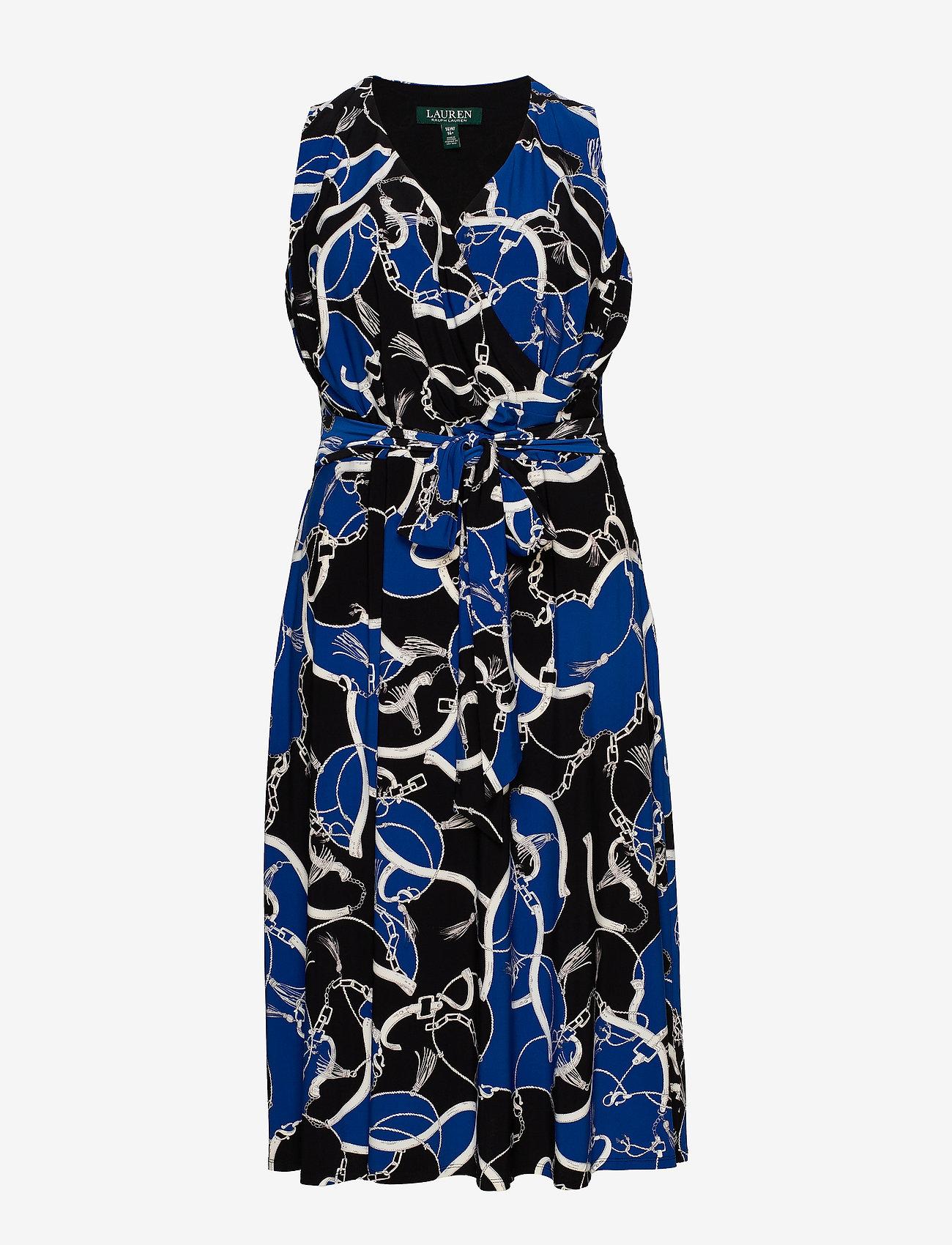 Lauren Women - Print Tie-Waist Midi Dress - cocktailkjoler - black/regal sapph - 0