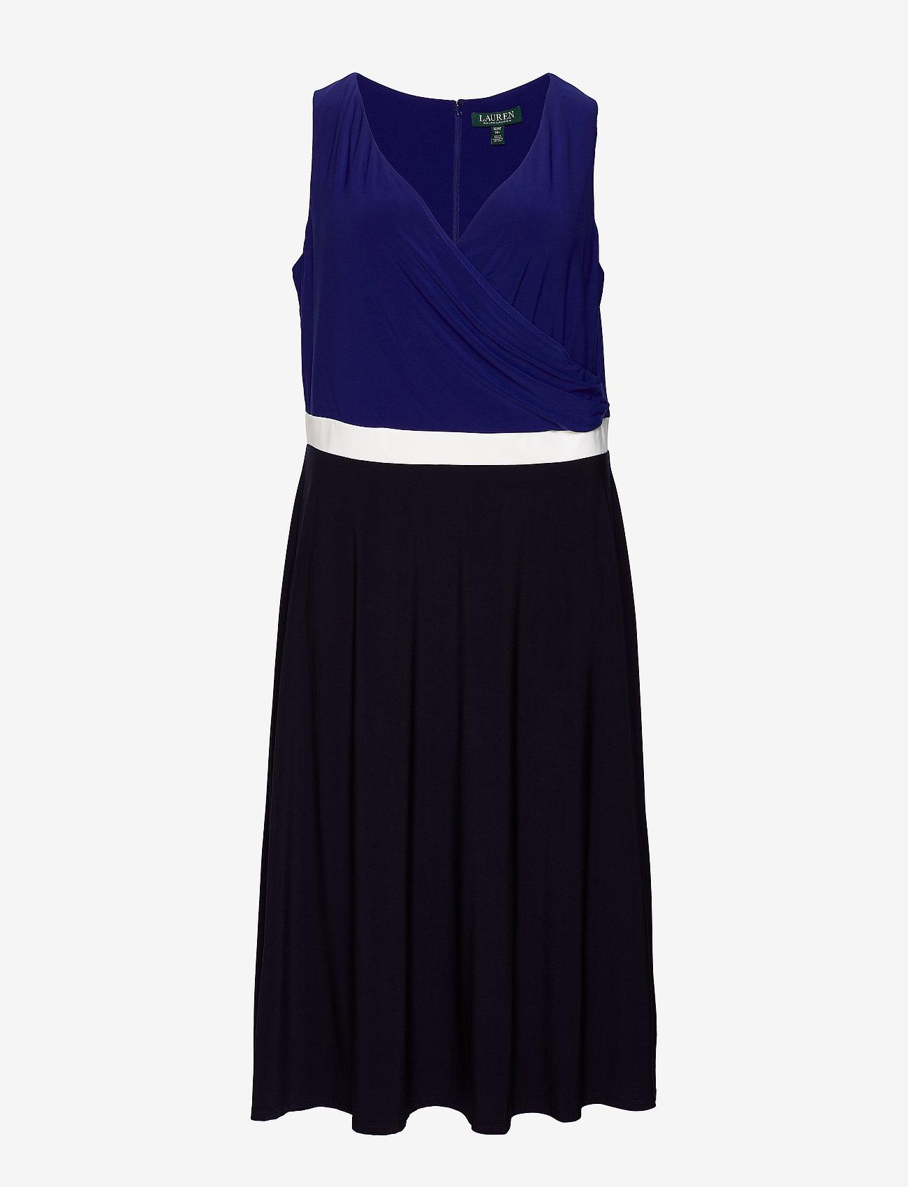Lauren Women - Color-Blocked Jersey Dress - festkjoler - lh navy/l white/c - 0