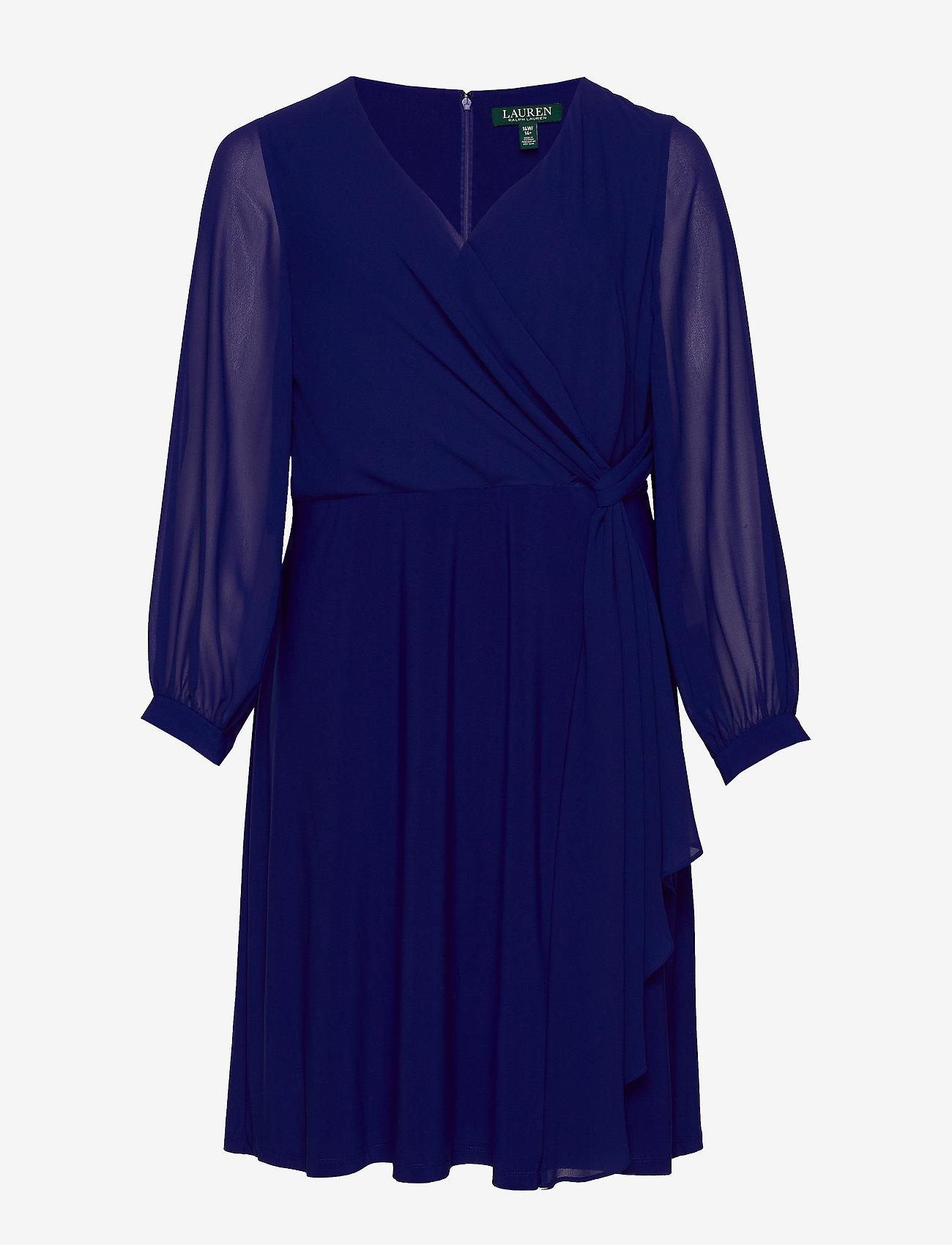 Lauren Women - Surplice Georgette Dress - slå-om-kjoler - cannes blue - 0