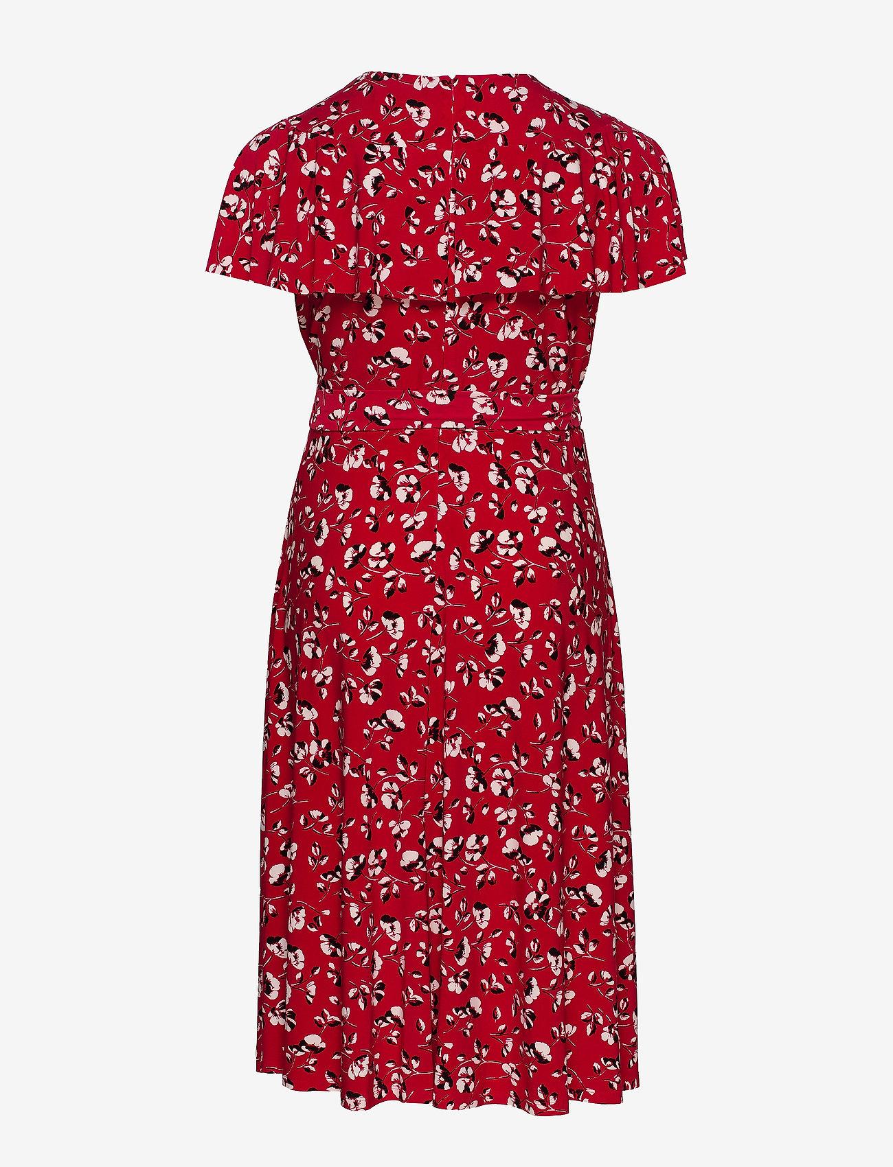 Lauren Women - Floral Surplice Dress - slå-om-kjoler - persimmon/charcoa - 1