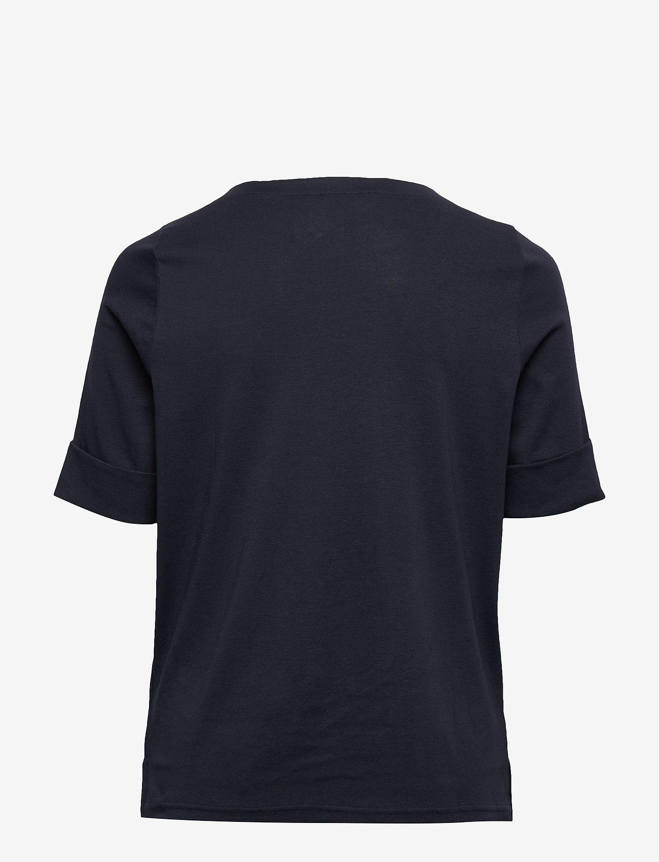 Lauren Women - Stretch Cotton Boatneck Tee - t-shirts - lauren navy - 1